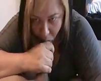 Chubby harlot sucks my large moist dick like a seasoned pro