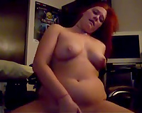 Chubby all lascivious ginger MILFie nympho used biggest red toy for her fun