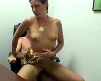 Redhead secretary jumps on my large bald cock i my office