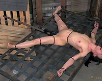 Black chap makes submissive fastened up brunette hair engulf his chubby BBC