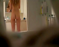Spy web camera vid of my beauty undressing and flashing her soaked hot bum