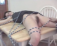 Tied up to the table brunette mother I'd like to fuck receives eaten by her lesbian GF