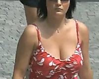 Juicy boobies of dilettante ladies walking down the street
