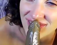 Blue eyed bushy appetizing cam nympho was engulfing her biggest dark toy
