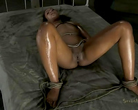 Oiled bound up black skinned resigned babe acquires face hole screwed coarse