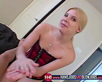 Blonde white hottie playing with a knob on POV tape
