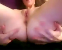 Sexy white bitch with tiny boobs seduces me with her masturbation