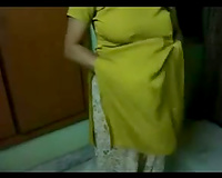 Super fat non-professional Indian whore receives rid of sari to show off her boobies
