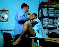 Horn-mad sinful Indian brunette hair in blue sari want to be drilled in office