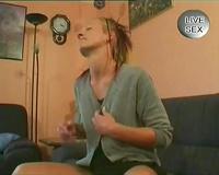 Worn blond slim bitch shows her flat raunchy body