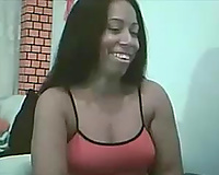 Dominican honey posing seductively whilst webcamming with me