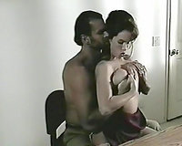 Hot white dark brown skank with a gracious and brutal man