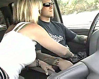 As I drive the car my bitchy amateur wife gives me breathtaking tugjob