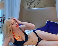 Cute blondie with appetizing marangos playing with sex toy in solo movie scene