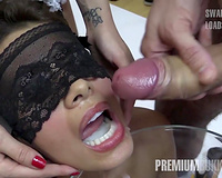 Premium Bukkake - Slutty wife swallows 81 big mouthful cumloads
