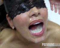 Premium Bukkake - Slutty wife swallows 81 big mouthful cumloads