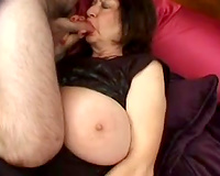 Cock loving large white woman on the daybed with 2 fellows