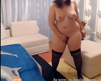Hot BBW playgirl with nice-looking face posing undressed on webcam