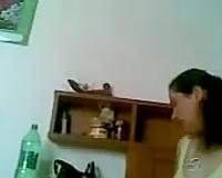 Secretly filming my mean plump Iraqi girl changing garments