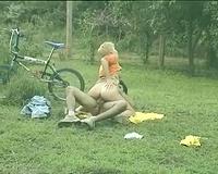 Slutty short-haired hottie on a bike fucks for sticky semen