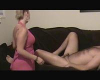 Petite blond hotwife films herself engulfing my ramrod on the sofa