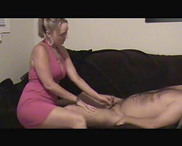 Petite blond hotwife films herself engulfing my ramrod on the sofa