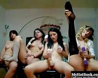 Amazing group of lesbo non-professional gals masturbating