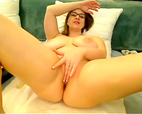 Big breasted dilettante nerdy brunette hair MILF masturbated her bawdy cleft for me
