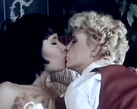 Flirtatious lesbos take up with the tongue every other's curly vaginas passionately