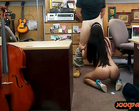 Sexy woman sells her instrument and railed by pawn man