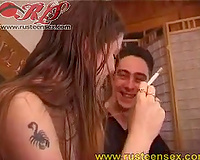 Horny Russian student floozy enjoys riding me and fucking doggy style