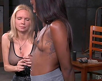 Beautiful dark housewife gagged and drooling topless and tied