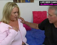 Fat non-professional big beautiful woman blondie gets eaten after walk in public park