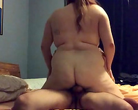 Extremely corpulent bitchie nympho was busy with riding bulky powerful pecker