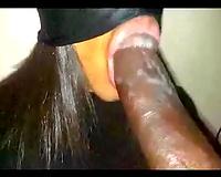Ebony honey sucks on monster penis with her eyes fastened