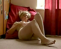 Sexy bootyful and horn-mad amateur golden-haired girlie masturbates her twat