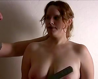 Busty voluptuous red haired floozy of my buddy acquires a tit castigation
