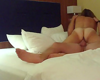 My tanned housewife hops on my inflexible prick cowgirl style