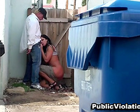 Busty and hot dilettante dark brown hiding behind the dumpster