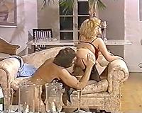 This gracious voracious blond bitch receives double penetration