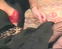 Hot and playful lewd dark brown on the ottoman with 2 dudes