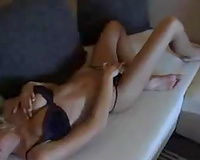 Scorching hawt blond GF positions her svelte body on livecam and blows me