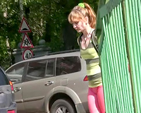 Sweet Russian wife in pink pants drools from her snatch