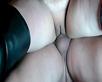 Mature thick white hotwife rides on my pecker in doggy style