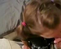 Seductive and hot teen cum drinker eats jizz after deepthroating