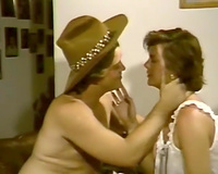 Awesome ardent vintage lesbo act on the ottoman