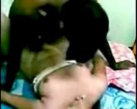 Dark skinned horn-mad Indian fellow bonks breasty brunette's bawdy cleft mish