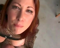 Huge breasted stunning chestnut haired mother I'd like to fuck in fishnet top was giving head