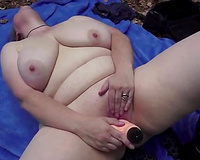 Extremely kinky super corpulent brunette hair masturbated right in the woods