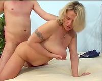 Busty golden-haired milf dirty slut wife drilled on the bed by a juvenile guy